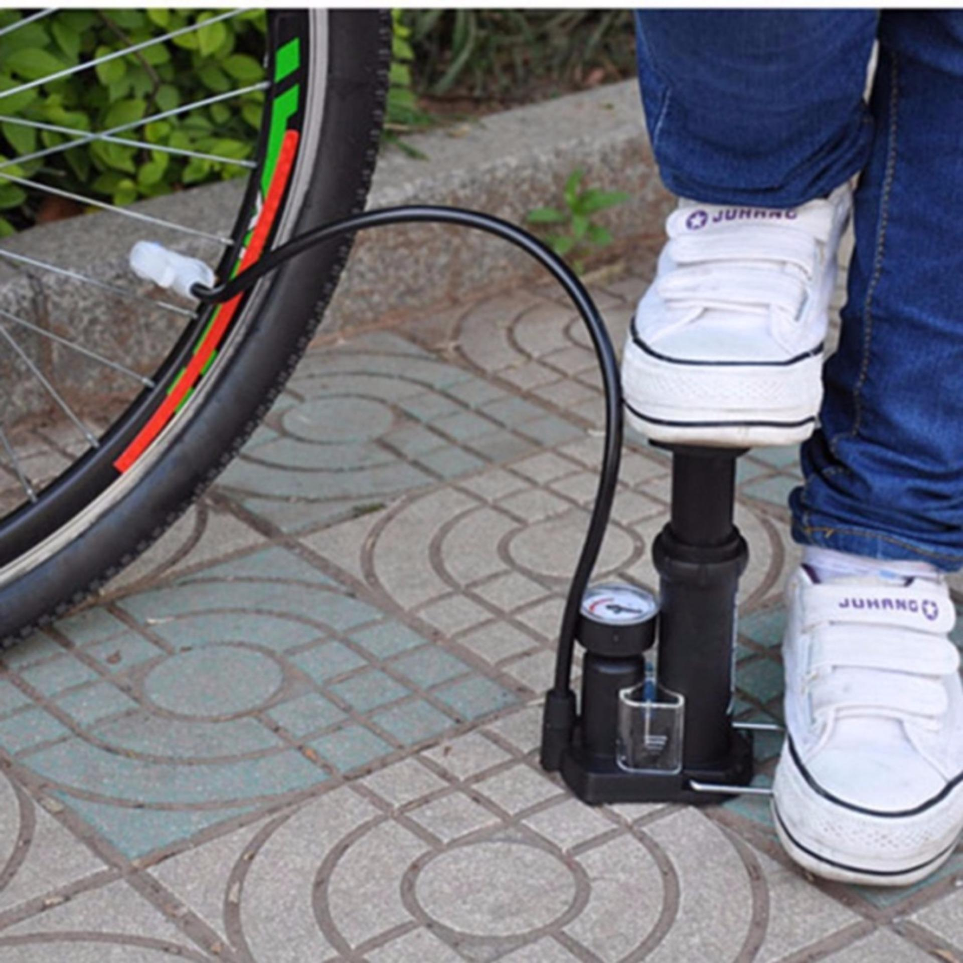 Eigia Pompa Angin Honor High Pressure Portable Bike Sepeda Basket Ball Foot Pump s4951 - Hitam