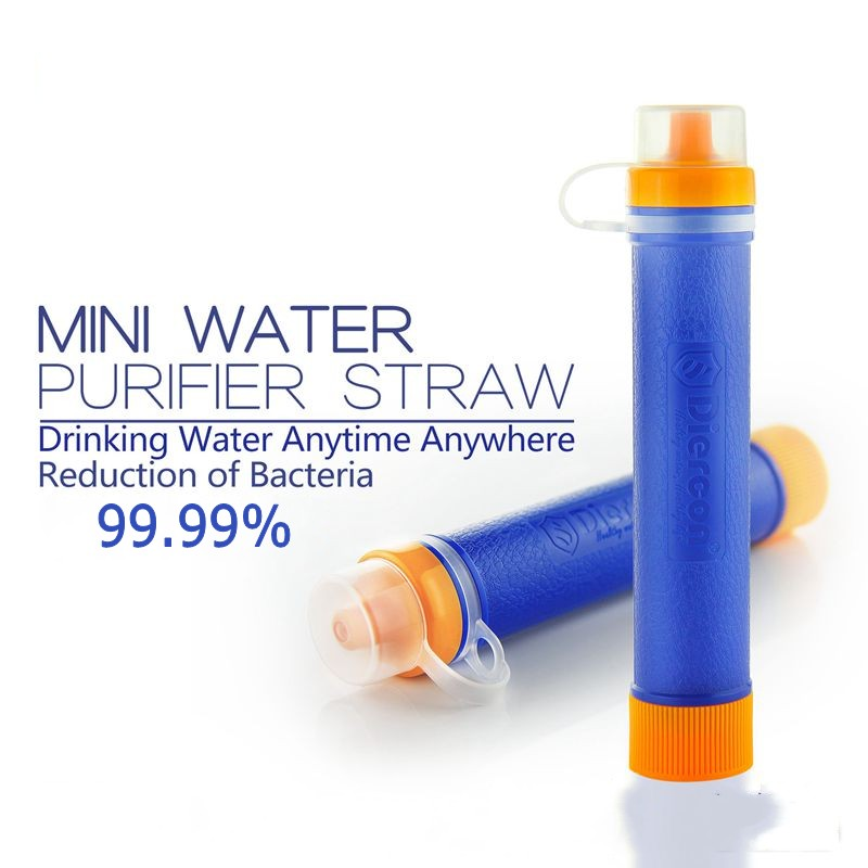 Geertop Diercon 1500L Mini Water Filter Purifier Straw Personal -0.01 micron 99.99% - BPA Free - For Outdoor Camping Survival - Blue