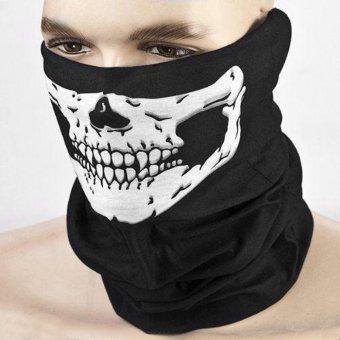 Hantu tengkorak topeng penutup kepala pengendara motor Call of Duty COD kostum olahraga permainan C helm jaring Rambut Hitam