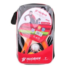 HUOBAN 6335A Table Tennis Racket Long Handle Double Face Ping Pong Paddle Table Tennis Bats Set With Balls - intl