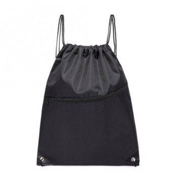 Harga MOON STORE Polyester bundle Pocket Nylon Drawstring Bag Black - intl