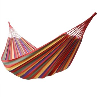 Harga Portable Cotton Rope Outdoor Hammock Red - intl
