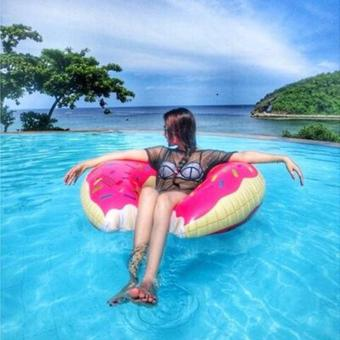 Harga LAAQ 60cm/70cm/80cm/90cm/100cm/120cm Giant Donut Floats- Strawberry (70cm) - intl
