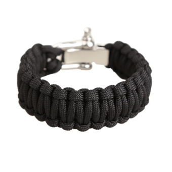 Harga Adjustable Parachute Cord 7 Strand Rope Bracelet Outdoor Survival Black