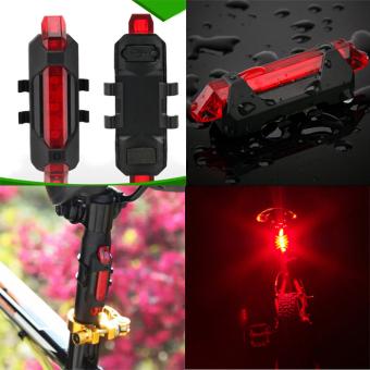 Isi Ulang USB Portabel Ekor Belakang Sepeda Keselamatan Lampu Peringatan Lampu Belakang