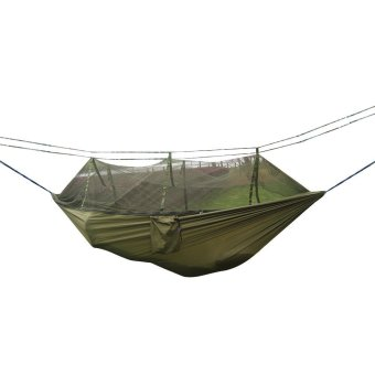 Harga leegoal Single-person Hammock Hanging Bed Portable High Strength Fabric Hammock With Mosquito Net For Outdoor Camping Travel,Green
