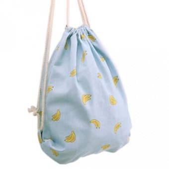 Harga Gym Backpack Drawstring Shoulders Travel Bag Big Flowers Swim Beach Bags Banana - intl