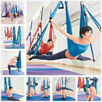 Harga New High Strength Inversion Anti-Gravity Aerial Yoga Swing Hanging Hammock Blue - intl