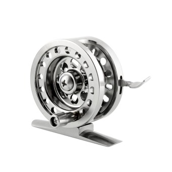 Harga OEM High Quality Ice Fly Fishing Flywheel Reel BLD50 Brake-System Silver New