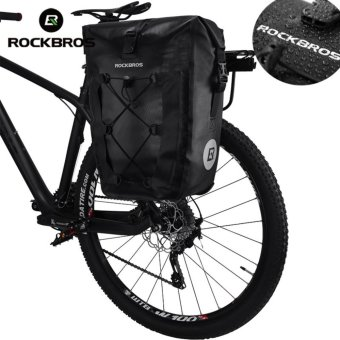 Harga ROCKBROS Bike Bag Waterproof Cycling Bicycle Rear Rack Bag Tail Seat Trunk Bags Pannier 27L Big Basket Case MTB Bike Accessories(Black) - intl