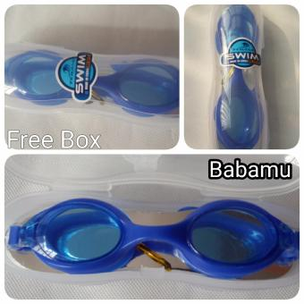Kacamata Renang Anti Fog with Box - Water World Swim Goggle Antifog - Biru - Babamu