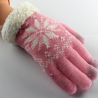 Rajut Wol Wanita Gadis Kepingan Salju Musim Dingin Tetap Hangat Sarung Tangan Mitten Sarung Tangan-