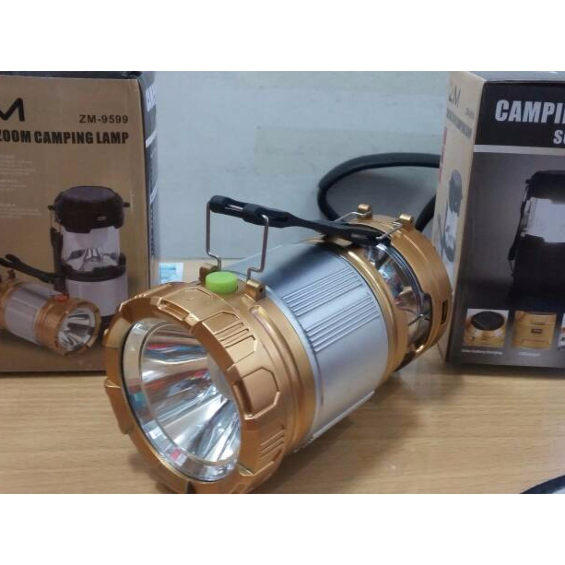 Lentera Camping Rechargeable Light 6 Led Dengan Senter Lampu Emergency Solar Plus Tenaga 611
