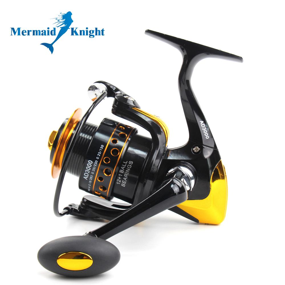 MermaidKnight memancing Reel12 + 1bb 5,5:1 Peche ikan logamberputar roda alat pemintal