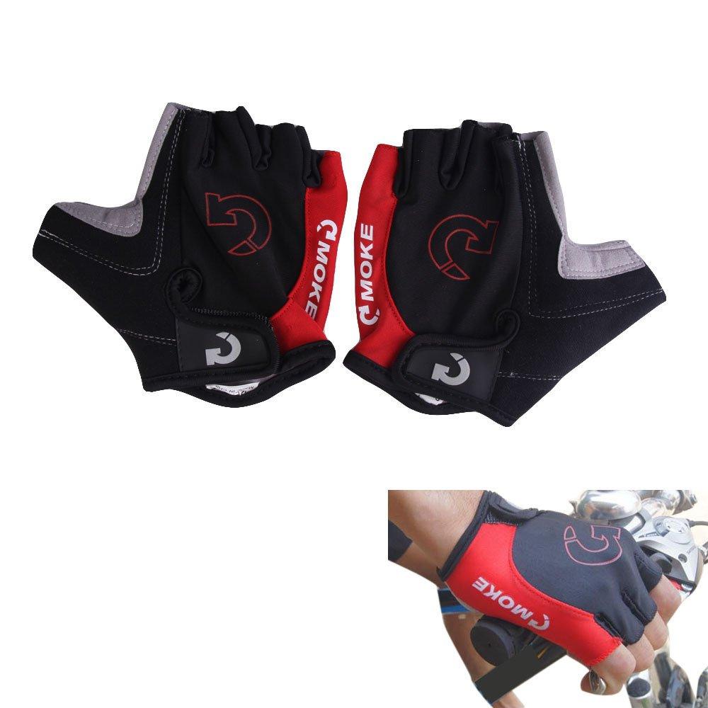 Mode Bersepeda Sepeda Motor Sport Gel Sarung Tangan Setengah Jari Merah Ukuran XL