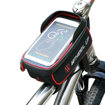 Mountain Bike Front Top Tube Zipper Bag with Touch Screen PhoneCase Waterproof Bike Frame Pouch for Cycling Color:Red blackSize:Six - intl