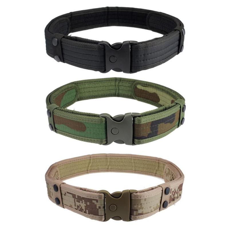 Outdoor Tactical Belt Adjustable Unisex Canvas Belt Camo Waistbandfor Field Training Hunting Sport Color:Black - intl