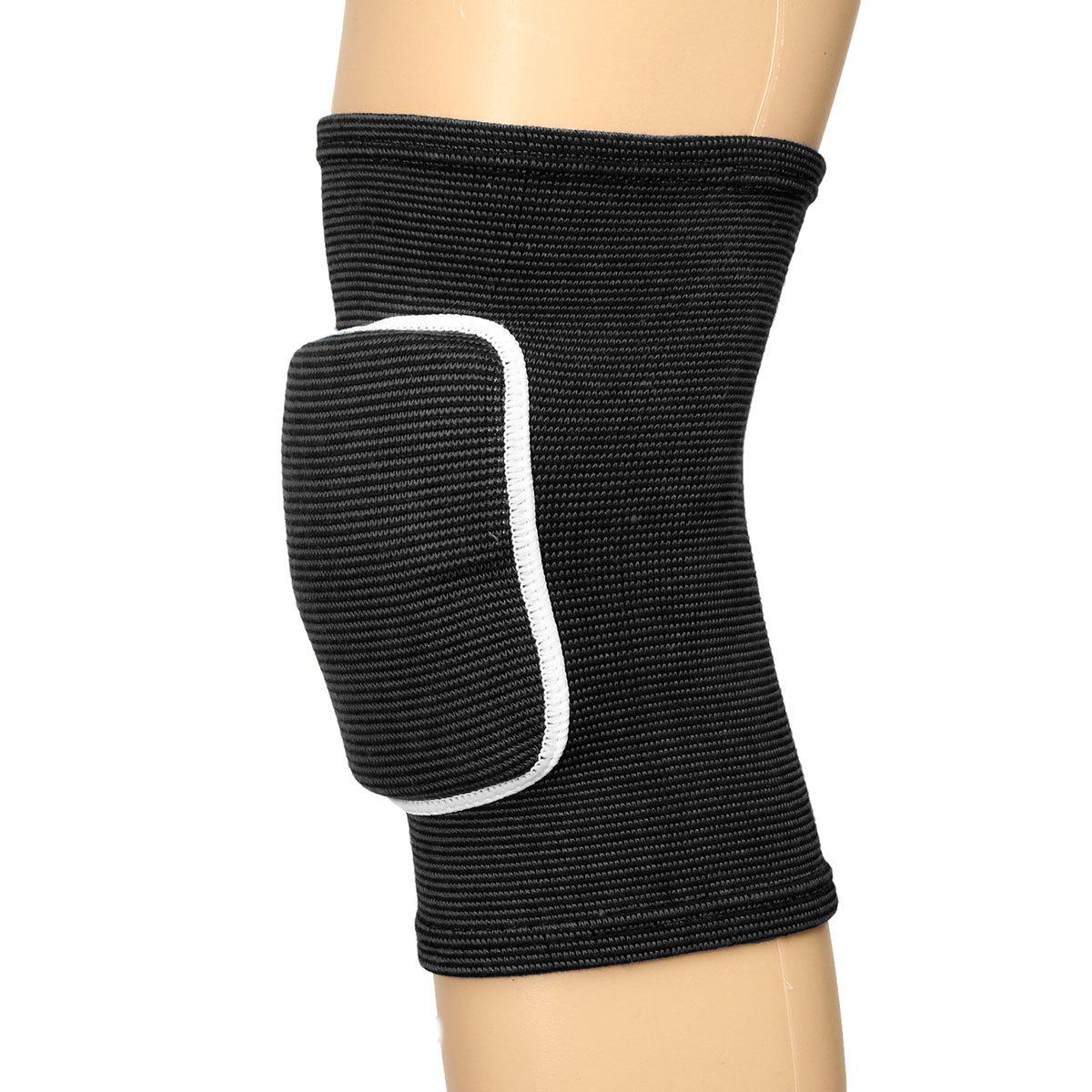 Penyangga lutut yang dapat disesuaikan tali dukungan Pad penjaga pelindung olahraga Gym nyaman hitam L .