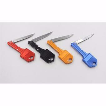 Pisau Mini Bentuk Kunci Unik Mini Pocket Knife Self Defence Multifungsi - Hitam - 3