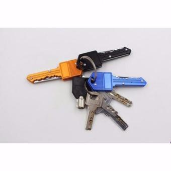 Pisau Mini Bentuk Kunci Unik Mini Pocket Knife Self Defence Multifungsi - Hitam - 5