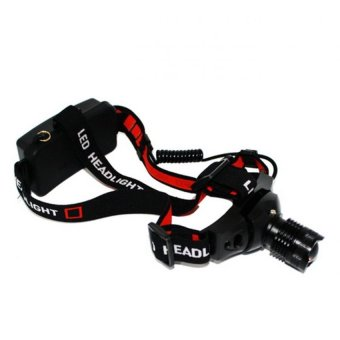 Police Headlamp CREE LED Rechargeable - Senter Kepala JS 0181 -Hitam