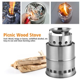 Portable Stainless Steel Outdoor Picnic Backpacking BBQ Camping Stoves Wood Stove - intl