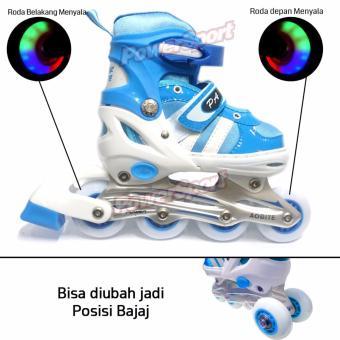 Power Sport Two-Stripes 5000 Aosite inLine Skate Sepatu Roda 2 in 1 Adjustable Wheel