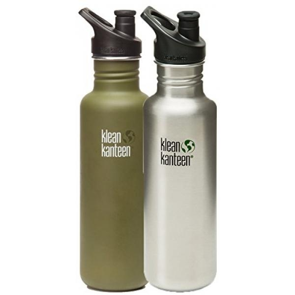 (Price Hidden)Klean Kanteen Stainless Steel Bottle with 3.0 SportCap (2 PK: Green Fatigue/Brushed Stainless, 27-Ounce) - intl