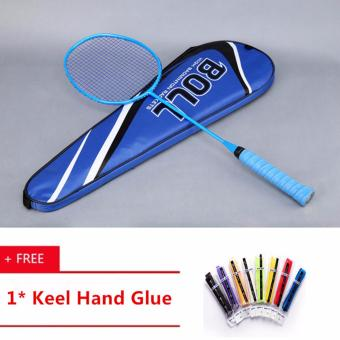 Professional All-carbon Single-shot Ultra-light Fiber Training Shoot Beginner Offensive Badminton Racket(Blue) - intl