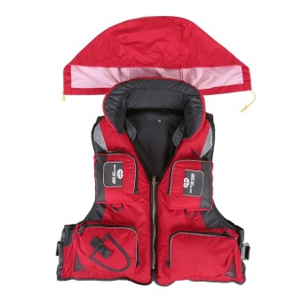 Jual Professional Fishing Polyester Adult Safety Life Jacket Survival Vest Swimming Boating Drifting - Intl Murah