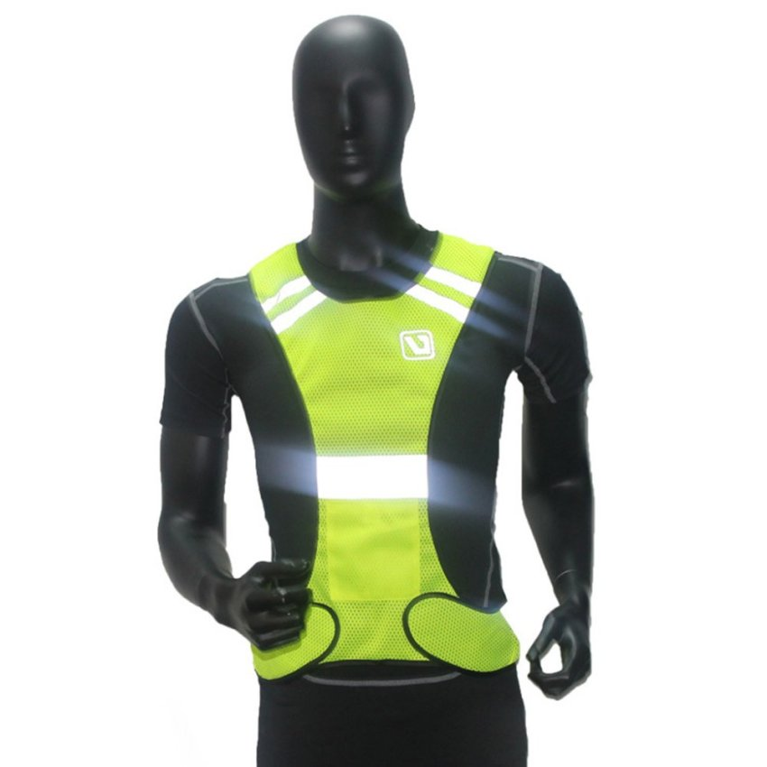Rompi keselamatan reflektif untuk berjalan bersepeda berjalan kuning .