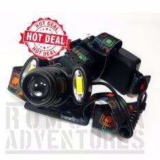Romusha Headlamp T6 Putar Dua Led Cob Plasma Fokus+Zoom Led Putih 4 Mode Nyala