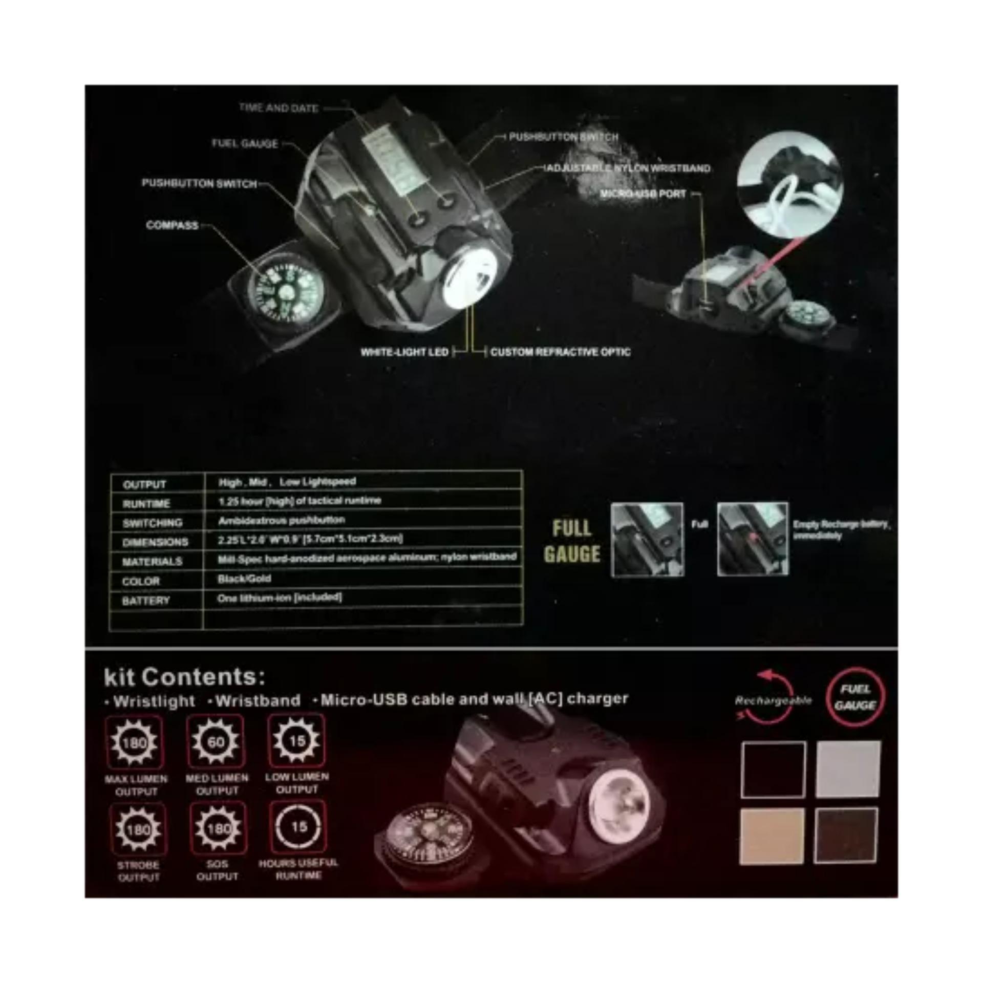 Harga Penawaran Senter Sepeda Jam Tangan Digital Led Rechargeable Lampu Multifungsi Kompas