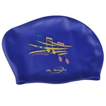 Olahraga Topi Renang Silikon Tahan Air Menyelam Penutup Biru Catatan Musik