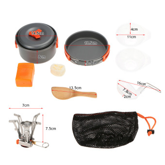 TOMSHOO Outdoor Camping Hiking Cookware with Mini Camping Piezoelectric Ignition Stove Backpacking Cooking .