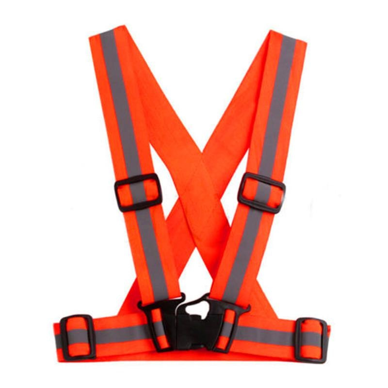 Unisex Adjustable Reflective Vest High Visibility Safety Straps forJogging Cycling Walking Running Color:Neon orange - intl