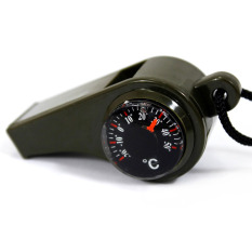 Universal 3 in 1 Whistle Compass Temperature / Peluit Multifungsi - Army Green