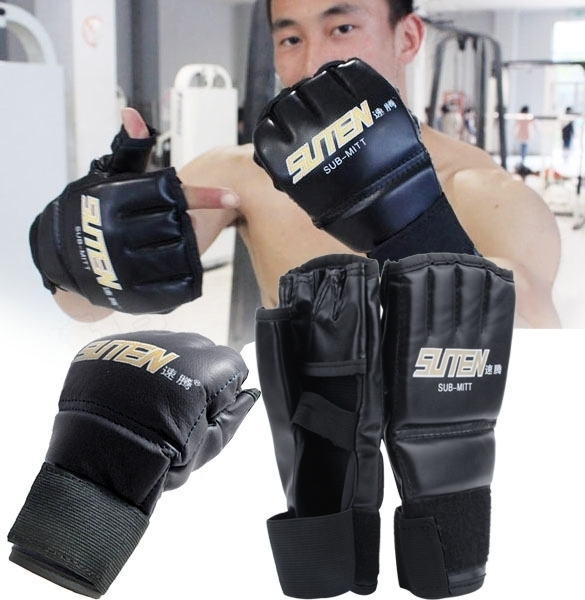 Yika 1 pasang MMA Muay Thai sansak tinju sarung tangan setengah Mitt perdebatan .