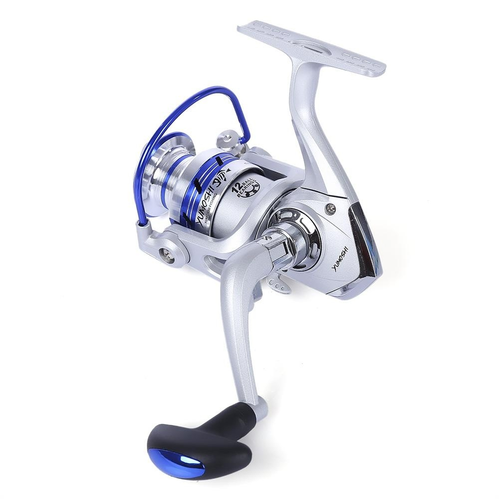 YUMOSHI 12BB Half Metal Fishing Spinning Reel with ExchangeableHandle AL4000 (Colormix)