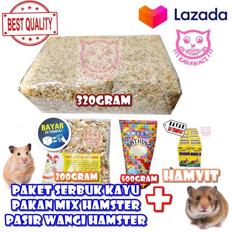 Paket Hemat Perawatan Hamster Marmut Kelinci Serbuk Kayu Makanan