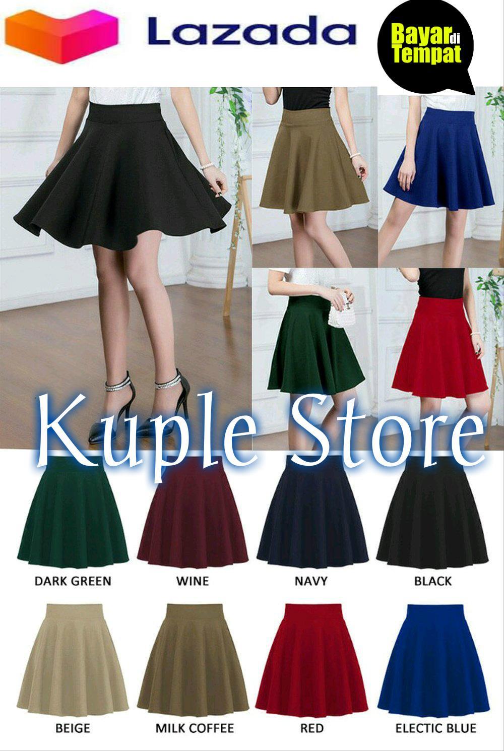 Spesifikasi dari Rok Payung Scuba Pendek / Midi Skirt / Rok Import / Midi Flare Scuba - Fashion Wanita Kekinian