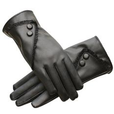 1 pasang sarung tangan perempuan layar sentuh sensitif PU rendasolidcolor sarung tangan musim dingin yang hangat