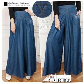 168 Collection Celaan Kulot Rok Geulis Jeans Pant-Biru