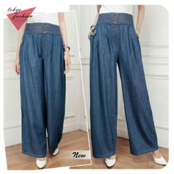 Harga 168 Collection Celana Levania Kulot Jeans Pant-Biru