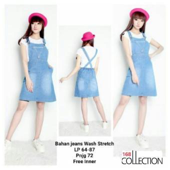 168 Collection Mini Dress Warda Jeans Overall-Biru Muda ...