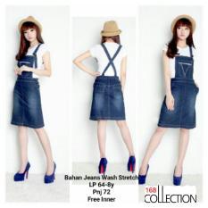168 Collection Mini Dress Warda Jeans Overall-Biru Tua