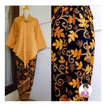 168 Collection stelan Kebaya Glamor Mustard blouse abaya dan rok lilit batik-mustard