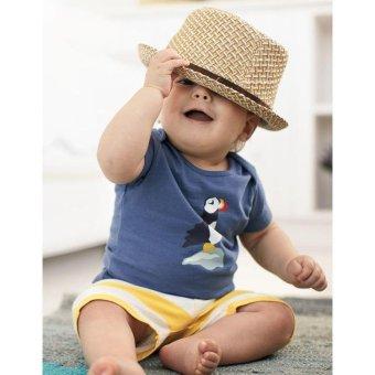 2 Pcs Summer New Fashion Boy T-Shirts Fashion Clothes Sets Short Sleeve + Stripe Shorts - Light Blue - intl - 2