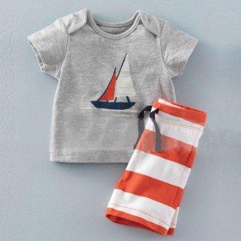 2 Pcs Summer New Fashion Boy T-Shirts Fashion Clothes Sets Short Sleeve + Stripe Shorts - Light Blue - intl - 4