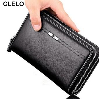 2016 baru pu bisnis dompet panjang pria tas kapasitas besar kasus ritsleting ganda kopling tas gaya
